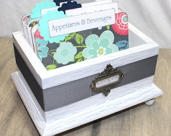 RECIPE BOX, Recipe Dividers, 4 x 6 Recipe Cards, Shabby Chic Box, White Wooden Box, Rustic Box, Navy and Mint Dividers, Floral Dividers