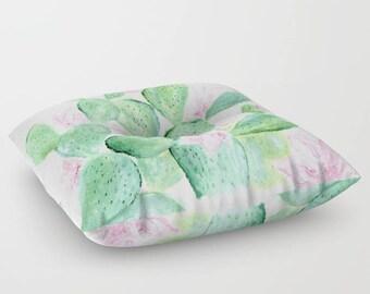 Cactus Floral Floor Pillow, cactus throw pillow, floral floor pillow, cactus floral pillow, flower floor pillow, square floor pillow