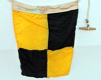 Nautical Flag Signal Pennant Letter L Office Yellow and Black Checkered Flag Man Cave Signal Flag