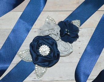 Wedding sash, Flower Girl Sash, Ribbon Sash, Bridal Sash, Wedding Shower Sash, Bridesmaid Sash Bachelorette silver navy blue grey gray