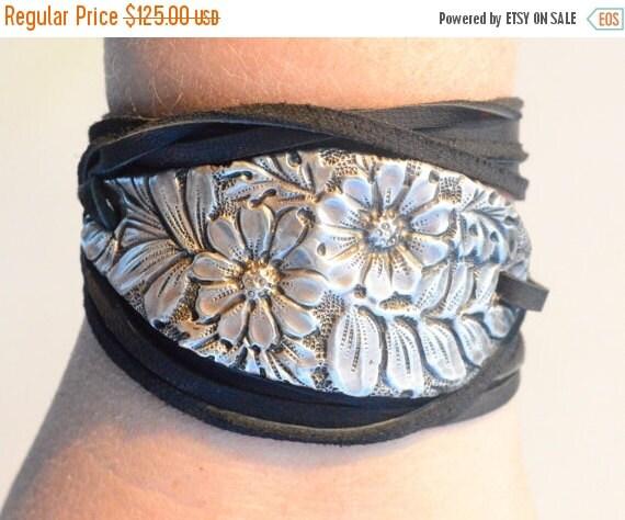 SALE 40% OFF Gorham Floral Sterling Silver 925 Leather Wrap Cuff Bracelet Bouquet Tie Spoon .925 Victorian Repoussé Silverware Antique Boho