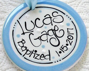 Personalized Baptism Gift for Boys in Blue // Personalized Baptism Ornament