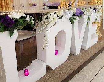 LOVE -wedding day-mr and mrs-headtable-spring wedding name block-block letters
