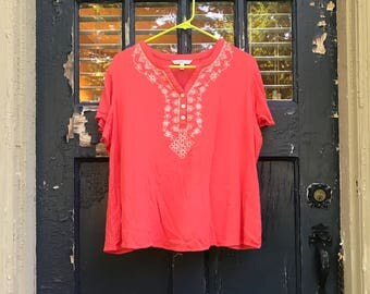 Pink Gauze Embroidered Top
