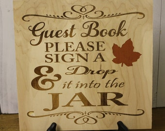 Wedding Sign/Top Drop Frame Sign/Leaf/Drop in the Jar/Engraved/Wood Sign/Guest Book/Wedding Gift/Autumn/Rustic/Fall Wedding