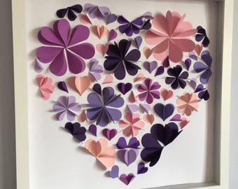 Petal Flower Heart, 3D paper art, 12x12