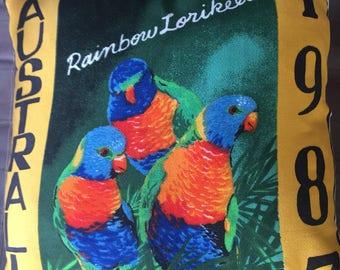 Vintage retro cushion cover 1987 calendar 40 cm x 40 cm Australian parrots