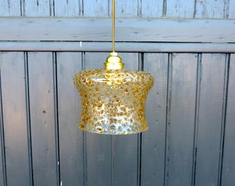 Vintage hand blown glass ceiling or pendant light in amber glass from the 1960s, Murano Mazzega Oberglas style