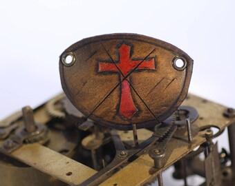steampunk leather eye patch , templar cross