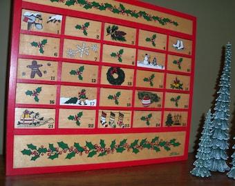 Vintage LL Bean Advent Calendar Christmas Holiday Wall Decor Red December