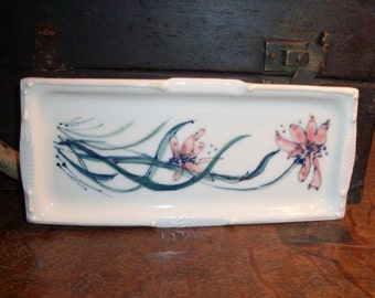 Vintage Handmade Ceramic Pottery Tray Trinket Dish Rectangular Jewelry Display Dresser