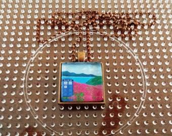 TARDIS Flower Stop-Square Necklace