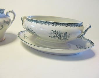 Lilly of the Valley Antique Green Transferware Gravy Boat with Underplate Aman Dinoise Muguet Green China Fine Dining Set  Antique China