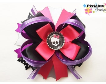 Monster High Skull Pink and Black Stacked Hair Bow
