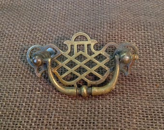 Vintage brass drawer handle pull restoration furniture hardware Chippendale chinoiserie farmhouse cottage chic home decor