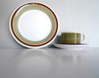 Vintage trio - MINT CONDITION Gefle Sweden Ylva cup, saucer and plate - olive green Design Helmer Ringstrom Scandinavian Vintage