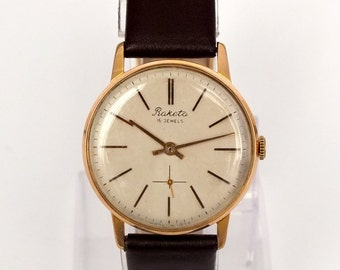 Slim mens watch RAKETA  (Rocket) 60s. Vintage gold plated, 16 jewels watch for men. Antique  Russian mens watch. Soviet mens dress watch