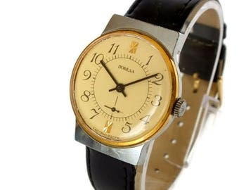 Mens watch Pobeda (Victory). Wrist watches for men 70s . Gold plated ring Russian watch. Vintage mens dress watch. Mechanical wristwatch.