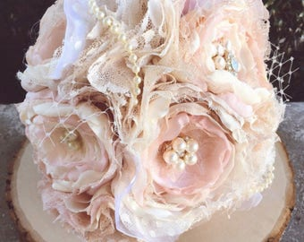 Fabric flower bouquet, blush fabric bouquet, brooch bouquet, bridesmaids bouquet, bride bouquet