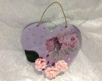 Sentiments Heart Purple Heart with Pink Flowers