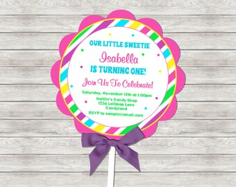 Lollipop Birthday Invitation - Digital File