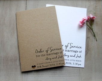10 Order of Service Personalised Vintage Rustic Style Wedding Outer Covers
