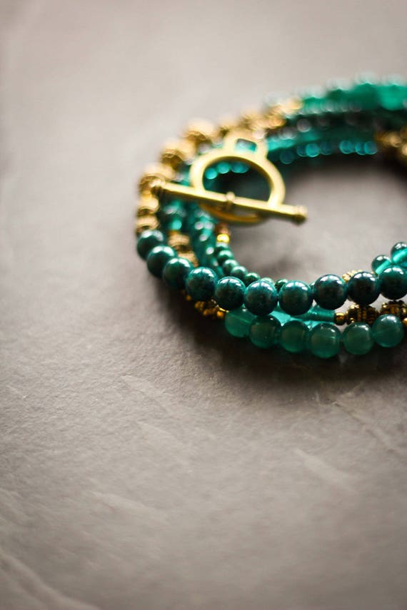 Necklace Romer: green, teal, oxidized brass, metal