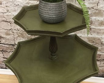 Antique Painted Green Shabby Cottage Chic Two Tier Pie Crust Table Plant Stand End Table Nightstand