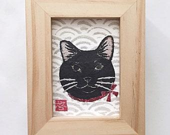 Black Cat Art, Black Cat Gifts, ACEO Original, Black Cat Decor
