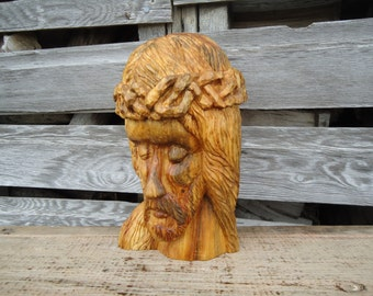 Hand carved Jesus sculpture - Jesus - Carved wood sculpture - Religious art - Jesus art - Crown of Thorns - Jesus wood carving - Sculpture