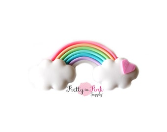 Rainbow Polymer Clay Embellishment - Rainbow Applique- Button- Embellishment- DIY Headband Supply