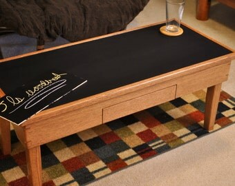 chalkboard red oak coffee table