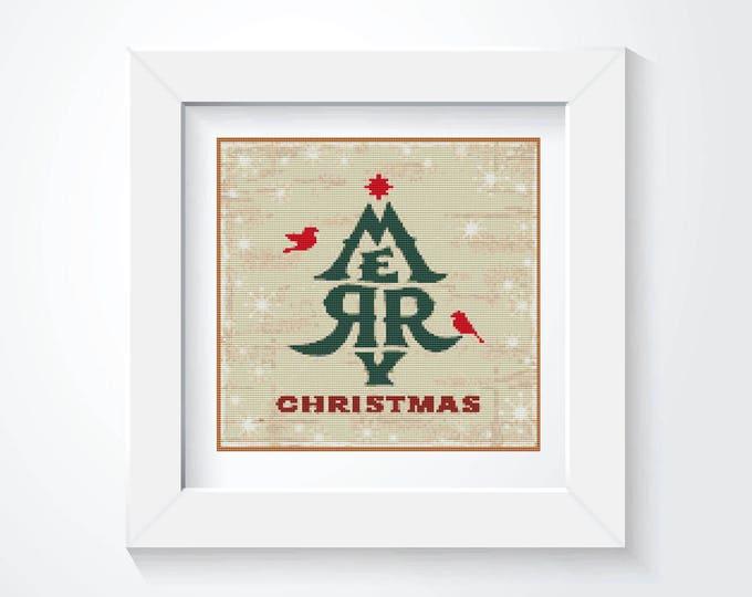 Cross Stitch Pattern PDF, Embroidery Chart, Art Cross Stitch, Holiday Cross Stitch, Merry Christmas! (ART006)