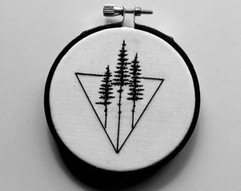 Tiny Trees with Triangle, Black and White Wanderlust Hand Embroidery
