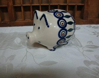 Polish Pottery Pig Bank
