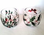 Pair Holly Robin Glass Candle Holders, hand painted
