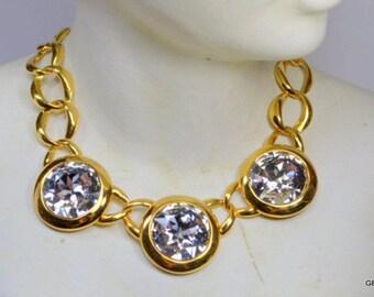 NAPIER Swarovski Crystal Rhinestone Faceted Round Headlight Necklace