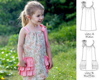 Girls Dress Pattern PDF, Pillowcase Dress Pattern, Childrens Sewing Pattern pdf,  Easy Dress Pattern, Girls Sewing Pattern, SUMMER DRESS