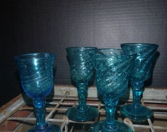 Vintage Blue Stemware (Set of 4 glasses )