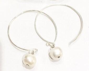 925 Silver Pearl Hoop Earrings