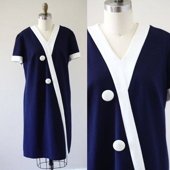 1960s blue mod mini dress  //  1960s Twiggy dress // vintage casual dress