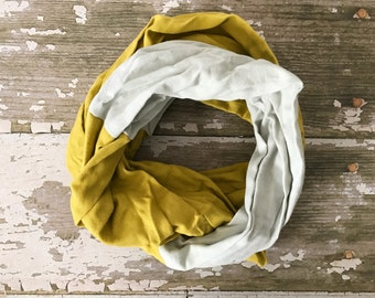 Double Gauze Infinity Scarf in Light Gray and Mustard