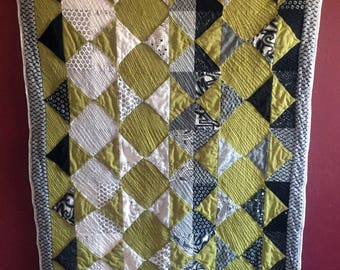 Olive, Black, White and Gray 3D Flying Geese Throw Quilt