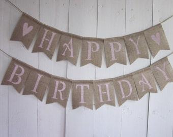Pink Happy Birthday Banner - Pink Birthday Bunting - Pink Birthday Garland - Pink Heart Birthday Party Decor - Pink Heart Birthday Sign