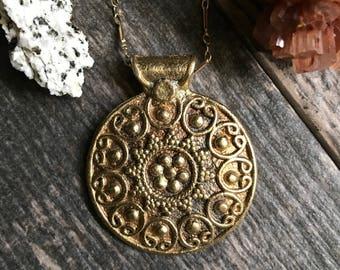 Mandala Necklace Gold,Gold Mandala Necklace,Mandala Jewelry,Gold Tibetan Necklace,Gold Tibetan Jewelry,Mandala Necklaces,Tibetan Mandala