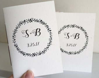 Wedding Vow Books - Script Initials with Wreath