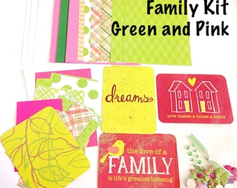 DIY Card Making Kit - Family Themed, Green and Pink