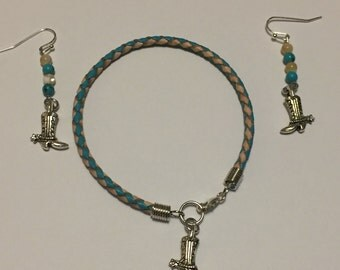 Cowboy Boot Braided Leather Bracelet & Earrings Set