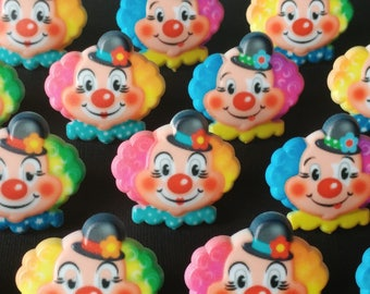 24 CLOWN cupcake rings party toppers cake picks Birthday Party favor first retro circus rainbow vintage look  friendly county fair carnival