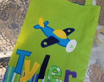 Small  Personalized Kids Tote Bag, Boy Tote Bag, Canvas Tote Bag, Reversible Bag, Tote Bag for Kids, Truck Birthday, Boy Birthday Present